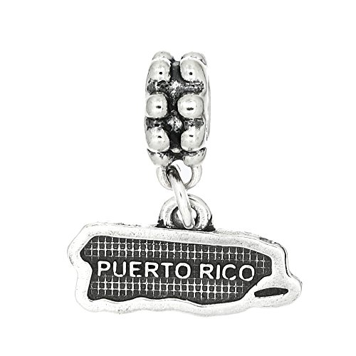 Sterling Silver Oxidized Map of Puerto Rico Dangle Bead Charm