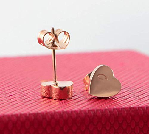 Jewelry Inspired Cartier (Women's Cartier Inspired Earrings, 18k Rose Gp Stamped Mini Heart Stud Earrings, Korean Designer Jewelry)