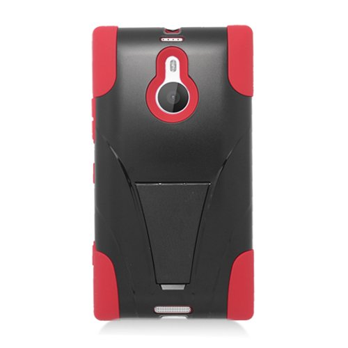 Nokia Lumia 1520 Black Red Hybrid Case Silicone Gel Plastic Protector Stand+ FREE PRIMO DESIGN CARTOON FOLDABLE TOTE BAG