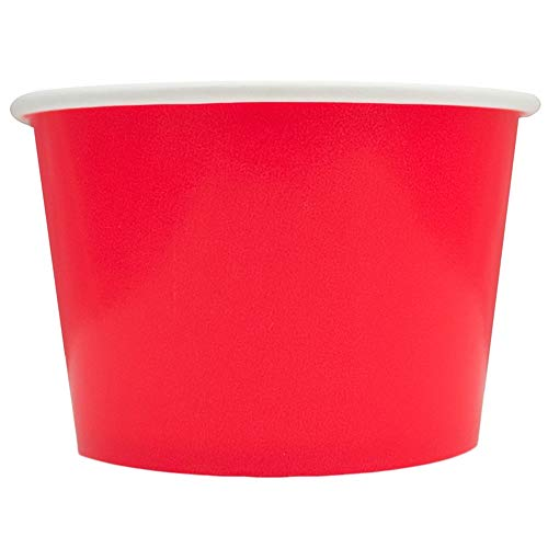 Red Paper Ice Cream Cups - 8 oz Dessert Containers Perfect For Yummy Treats - Many Sizes to Make Your Party Amazing! Fast Shipping! Frozen Dessert Supplies - 50 -