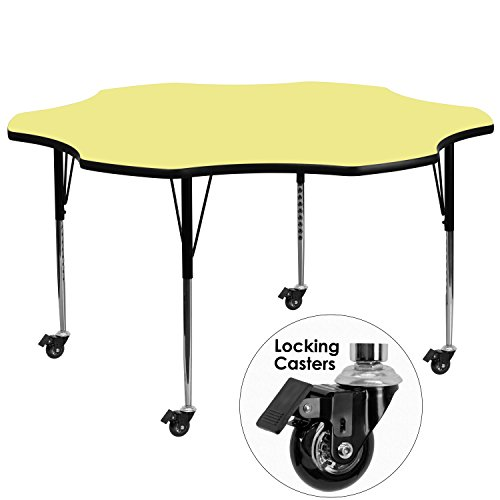 Flash Furniture Mobile 60'' Flower Yellow Thermal Laminate Activity Table - Standard Height Adjustable Legs by Flash Furniture