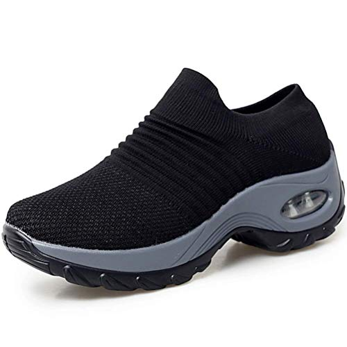 Slip On Breathe Mesh Walking Shoes Women Sneakers Nursing Shoes Comfort Wedge Tennis Platform Loafers 8.5 M US