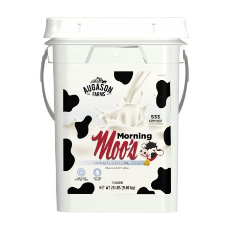 Augason Farms Morning Moo's Low Fat Milk Alternative Certified Gluten Free Emergency Bulk Food Storage 4-Gallon Pail 533 Servings by Augason Farms