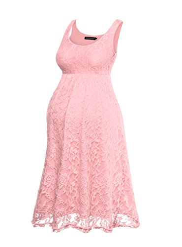 HARHAY Women's Maternity Knee Length Sleeveless Lace Tank Dress 606 Pink XL2