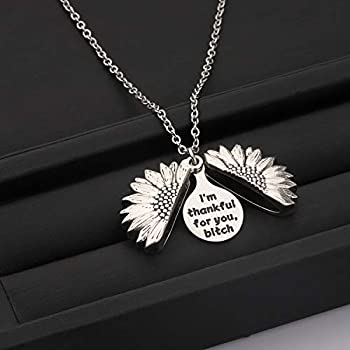 BLEOUK Friend Thank You Gift Im Thankful for You Bitch Sunflower Locket Pendant Necklace Best Friend Appreciation Gift