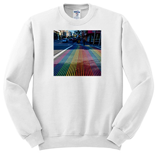 3dRose Danita Delimont - Cities - Rainbow Street Crossing, Castro District, San Francisco, California - Sweatshirts - Youth Sweatshirt Large(14-16) - Street Castro Sf