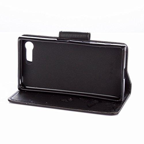 Yiizy Sony Xperia X Compact Custodia Cover, Farfalla Fiore Design Sottile Flip Portafoglio PU Pelle Cuoio Copertura Shell Case Slot Schede Cavalletto Stile Libro Bumper Protettivo Borsa (Nero)