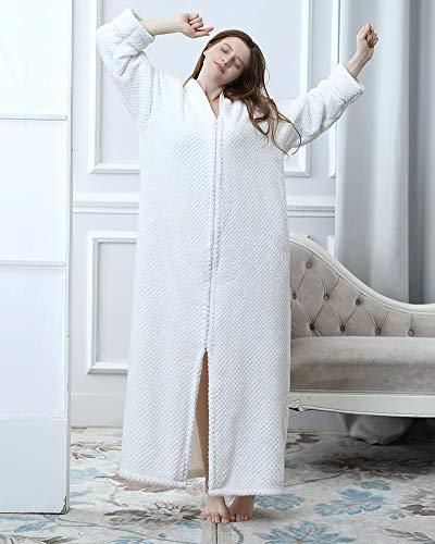 Di Cerniera Morbido Femmina Bianco Corallo Donna Leggero Sleepwear E Pigiama Pile Per Lungo Robe Unisex Uomo Con Accappatoio qZxazUYwT