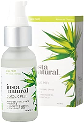 InstaNatural Glycolic Acid Peel 30% Serum - With Vitamin C, & Hyaluronic Acid - Best Treatment to Exfoliate Deep, Minimize Pores & Reduce Breakouts, Appearance of Aging & Scars - 1 OZ