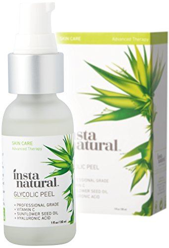 (Glycolic Acid Facial Peel 30% - With Vitamin C, Hyaluronic Acid - Best Treatment to Exfoliate Deep, Minimize Pores, Reduce Acne & Breakouts, and Appearance of Aging & Scars - InstaNatural - 1 oz)