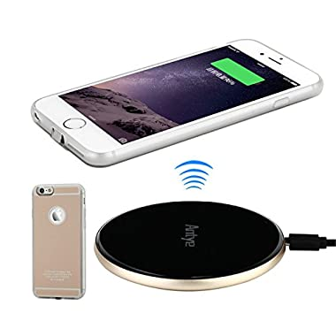 Antye Qi Wireless Charger Kit for iPhone 6 Plus / 6S Plus - Includes Qi Wireless Receiver Case with Flexible Lightning Connector and Aluminum Qi Wireless Charging Pad Station, Gold