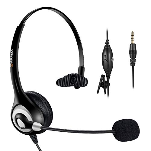 Arama Cell Phone Headset with Noise Canceling Boom Mic Mute Volume Control and Adjustable Headband for Iphone Mac Samsung BlackBerry Mobile Phone with 3.5 mm Jack (A600MP)