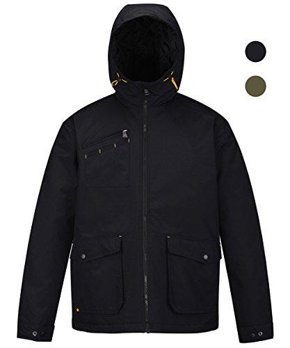 - HARD LAND Men's Waterproof Rain Jacket Insulated Hooded Windbreaker Winter Coat Outdoor Parka Size 3XL Black