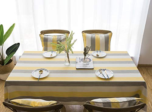 Deep Dream Tablecloths,Dyed Stripe Table Cloth,Cotton Linens Wrinkle Free Anti-Fading,Table Cover Decoration for Kitchen Dinning Party (Rectangle/Oblong, 55''x86'',6-8 Seats, White&Yellow)