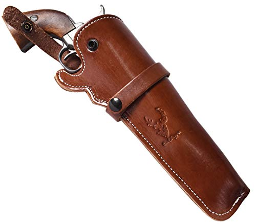 BlueStone Safety Mahogany Western Leather Revolver Holster - 4 to 6 inch Barrel Revolvers Single Double Action Ruger Redhawk GP100 Colt Army 45