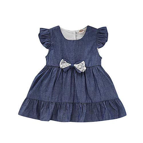 YOUNGER TREE Newborn Infant Baby Girls Romper Summer Clothes Denim Jeans Bowknot Dress Princess Outfits (Blue, 6-12 Months)