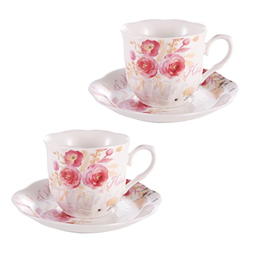 7 Ounce Porcelain Bone China Tea Cup and Saucer Set Coffee Cup Set with Saucer Rose Painting Pattern Sets of (Vintage 2 Cup)