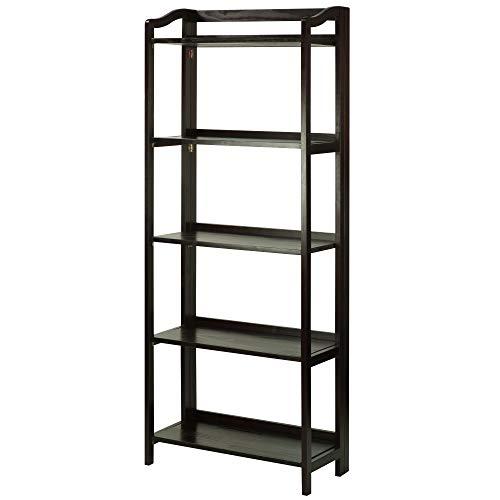 Casual Home 337-53 Stratford 5-Shelf Folding Bookcase-Espresso