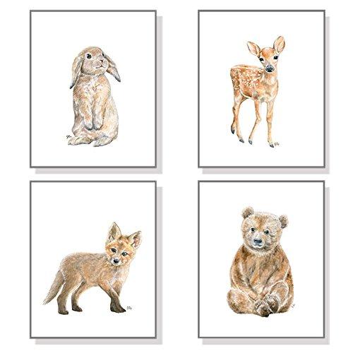 Woodland Nursery Art Forest Nursery Prints Set of 4, Baby An