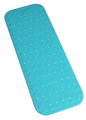 Large Rubber Bath Mat (Bath Mat - Non-Slip Natural Rubber - PVC FREE - Extra Long Bath Mat - Safe Secure Non Skid Surface for Baby, Kids and Elderly - Choose from White, Blue,)