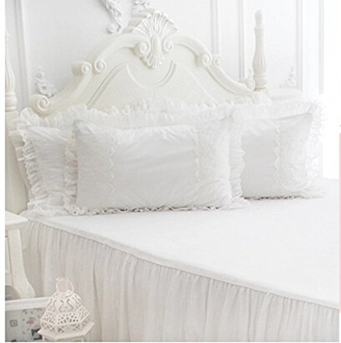 Brandream Girls Romantic Lace Bed Skirt Fancy Korean Lace Pillowcase 100% Cotton Bed Skirts Sheets Set Twin/Queen/King/Size