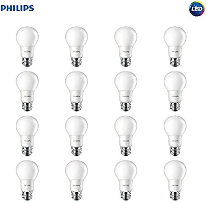 Philips LED Non-Dimmable A19 Frosted Light Bulb: 800-Lumen, 2700-Kelvin,  8 5-Watt (60-Watt Equivalent), E26 Base, Soft White, 16-Pack