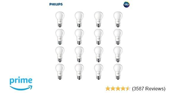 8-Pack Soft White Philips LED A19 Non-Dimmable 800-Lumens 8.5-Watt Light Bulb with E26 Medium Base