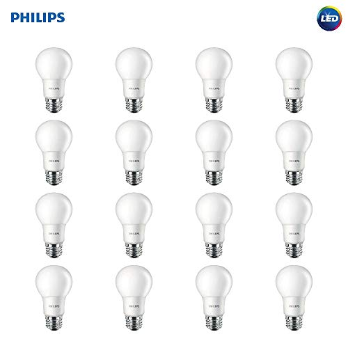 - Philips LED Non-Dimmable A19 Frosted Light Bulb: 800-Lumen, 5000-Kelvin, 8-Watt (60-Watt Equivalent), E26 Base, Daylight, 16-Pack