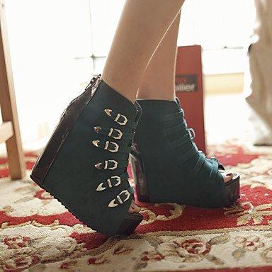 LvYuan Mujer-Tacón Cuña-Zapatos del club-Sandalias-Oficina y Trabajo Vestido Fiesta y Noche-PU-Negro Black