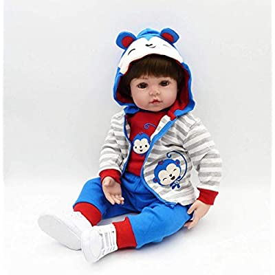 Acestar Reborn Baby Doll 22 inch 55cm Soft Silicone Cloth Body Magnetic Mouth Lifelike Toys Reborn Doll for Boys and Girls Birthday Acestar70306-55: Toys & Games