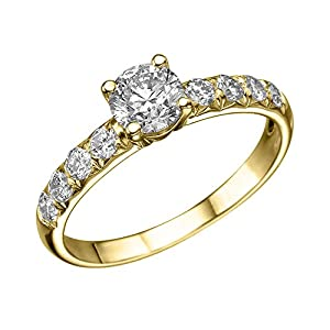 GIA Certified 14k yellow-gold Round Cut Diamond Engagement Ring (0.85 cttw, E Color, SI1 Clarity)