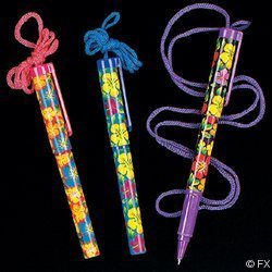 OTC - Bright Hibiscus Pens on a Rope (2-Pack of 12) - Hawaiian Rope