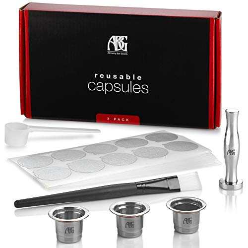 Reusable Nespresso Capsules - Pack of 3 - Stainless Steel Refillable Pods Compatible with Nespresso Machines Premium Espresso Tamper and 150 Foil Lids (Original-Line Models)