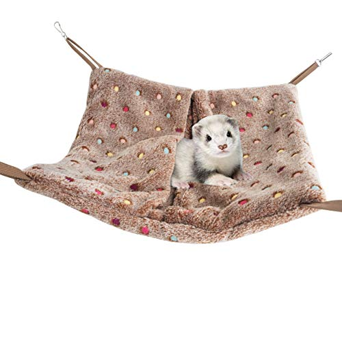 Niteangel Hanging Hammock Nap Sack Swing Bag Pet Sleeper for Ferret Rat Sugar Glider and Other Small Animals (Brown, Polka-dot) (Hammock Marshall Ferret)