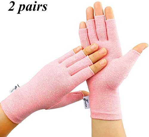Tiny Chou 2 Pairs Arthritis Gloves for Women & Men - Compression Gloves for Arthritis Pain Relief - Rheumatoid & Osteoarthritis,RSI,Typing,Fingerless Gloves for Women (Pink, Small)