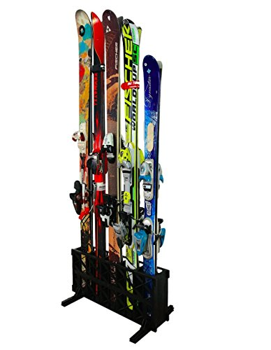 (StoreYourBoard Ski Storage Rack, Freestanding 5 Pair Skis Floor Rack, Standard Skis)