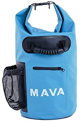 Mava Sports Waterproof Dry Bag – Mobile and Water Bottle pocket, Long Adjustable Shoulder Strap – Roll Top Sack for Adventures, Boating, Canoeing, Rafting, Camping, Snowboarding, Water Sports