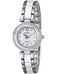 7073WT Crystal Accented Round Silver-Tone White Acrylic Link Watch