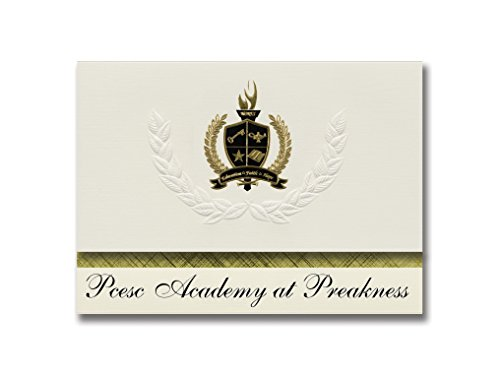 Signature Announcements Pcesc Academy at Preakness (Wayne, NJ) Graduation Announcements, Presidential style, Basic package of 25 with Gold & Black Metallic Foil - Wayne Preakness