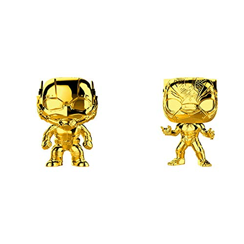 Funko Pop! Marvel Studios 10 Set of 2: Gold Chrome Black Panther and Ant-Man