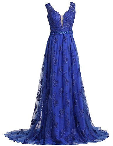 SeasonMall Womens Prom Dresses 2016 Lace V-Neck A Line Sleeveless Sweep Train With Beading Dress Size 0 Dark Royal Blue (A-line Sleeveless Sweep)