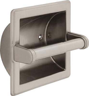 Delta Faucet 45072-SN Recessed Paper Holder W/ Beveled Edges, Satin Nickel