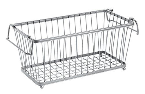 InterDesign York Lyra Kitchen Organizer Basket - Wire Pantry Storage Basket, Silver