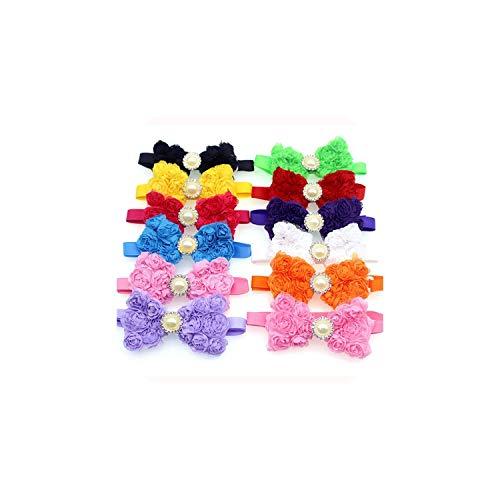 Casual-Life !50pcs Pet Dog Bow Ties Chiffon Rose Diamond Ribbon Pet Bowties Pet Dog Neck Collar Accessories Pet Grooming Shop,Mix Colour,M