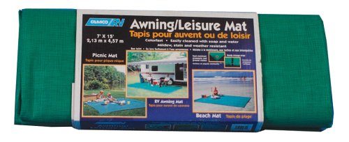 Camco 42810 RV Awning Leisure Mat (7' x 15', Spring Green)
