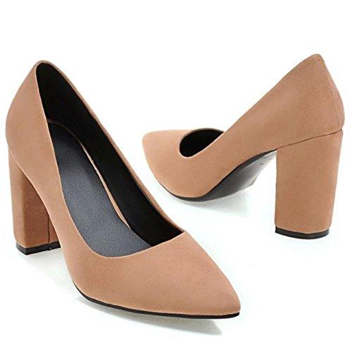 COOLCEPT Mujer Moda sin Cordones Puntiagudo Tacon Ancho Alto Bombas Zapatos Boca Baja Zapatos SU Marron