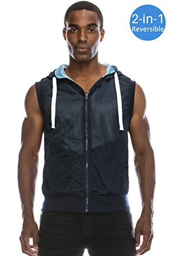 JC DISTRO Men's Reversible Sleeveless Mesh Zip Up Hoodie Navy Vest Hoodie Medium (Reversible Sleeveless Vest)