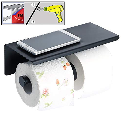 (Alise GYT880-B Double Toilet Paper Holder Bathroom Tissue Roll Holder with Shelf,2 Installation of 3M Self-Adhesive and Wall Drill,SUS304 Stainless Steel Matte Black)