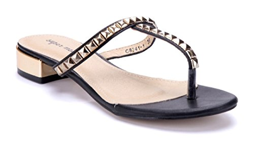 Schuhtempel24 Damen Schuhe Zehentrenner Sandalen Sandaletten Blockabsatz Nieten 3 cm Schwarz