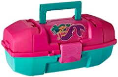 A first tackle box can spark an interest that will last a lifetime. Plano youth Mermaid tackle box in magenta/teal is designed to protect the young anglers fishing essentials. The full-size, lift-out tray has separate worm-proof compartments....